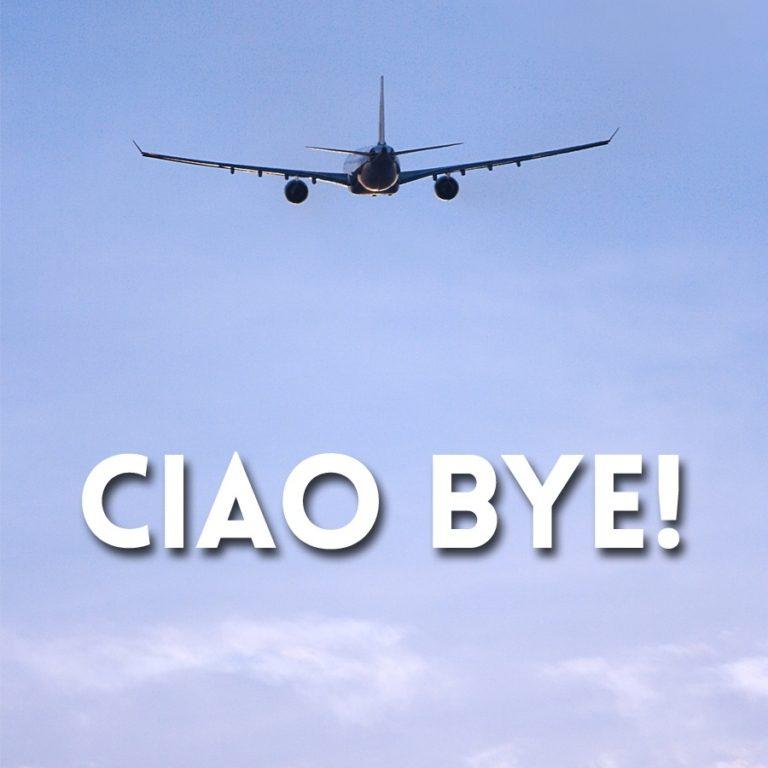 "avion avec texte ""Ciao bye"""