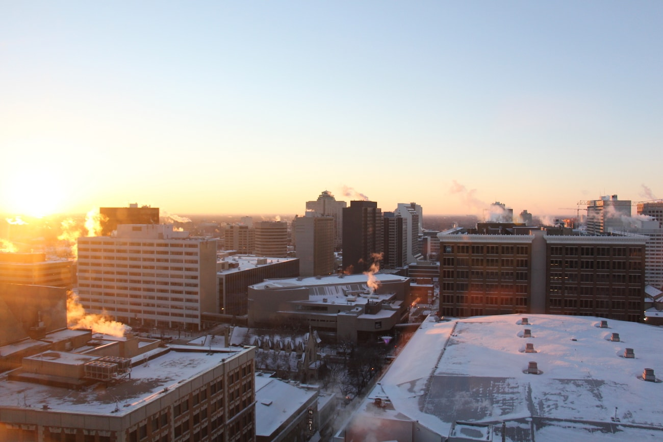 Vue de l'hôtel ALT à Winnipeg, l'hiver