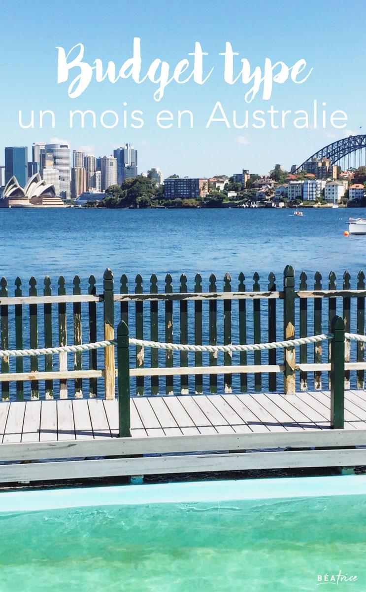 budget un mois Australie