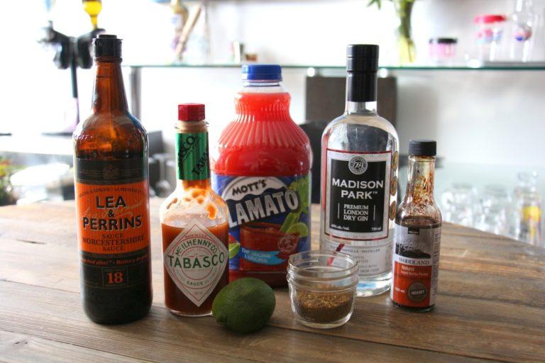 Ingrédients pour ma recettte de Bloody Caesar
