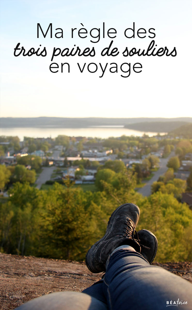Image pour Pinterest : chaussures pour voyager
