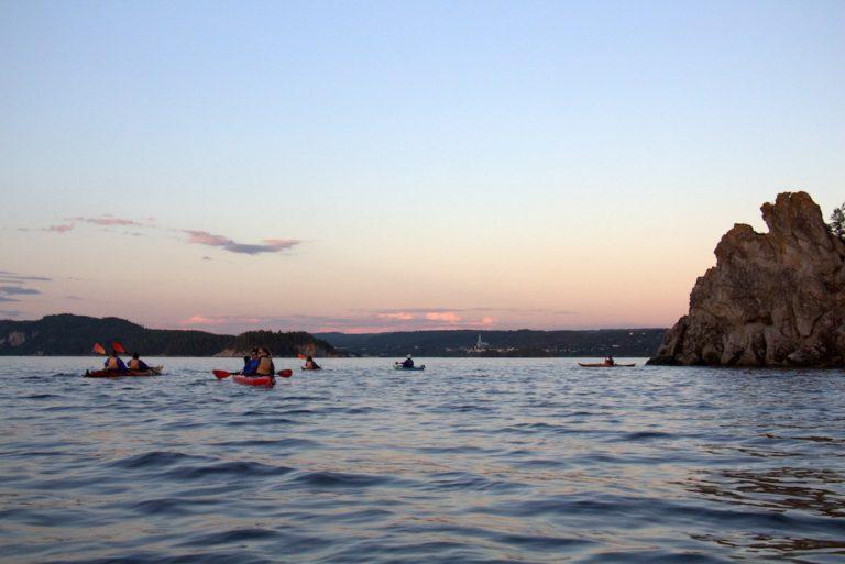 kayak au coucher du soleil, parc du Bic