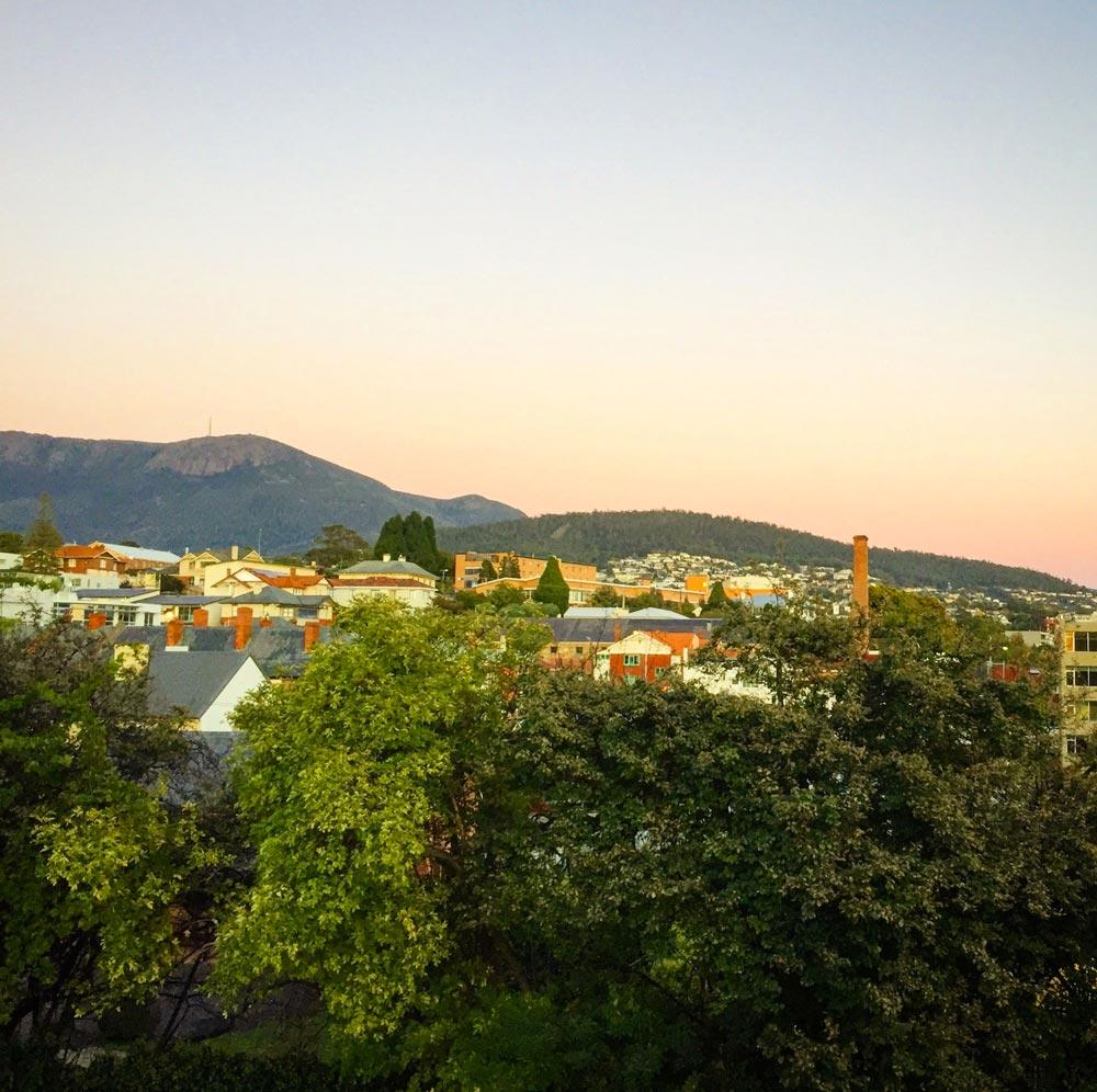 Vue du Montacute Boutique Bunkhouse à Hobart en Tasmanie