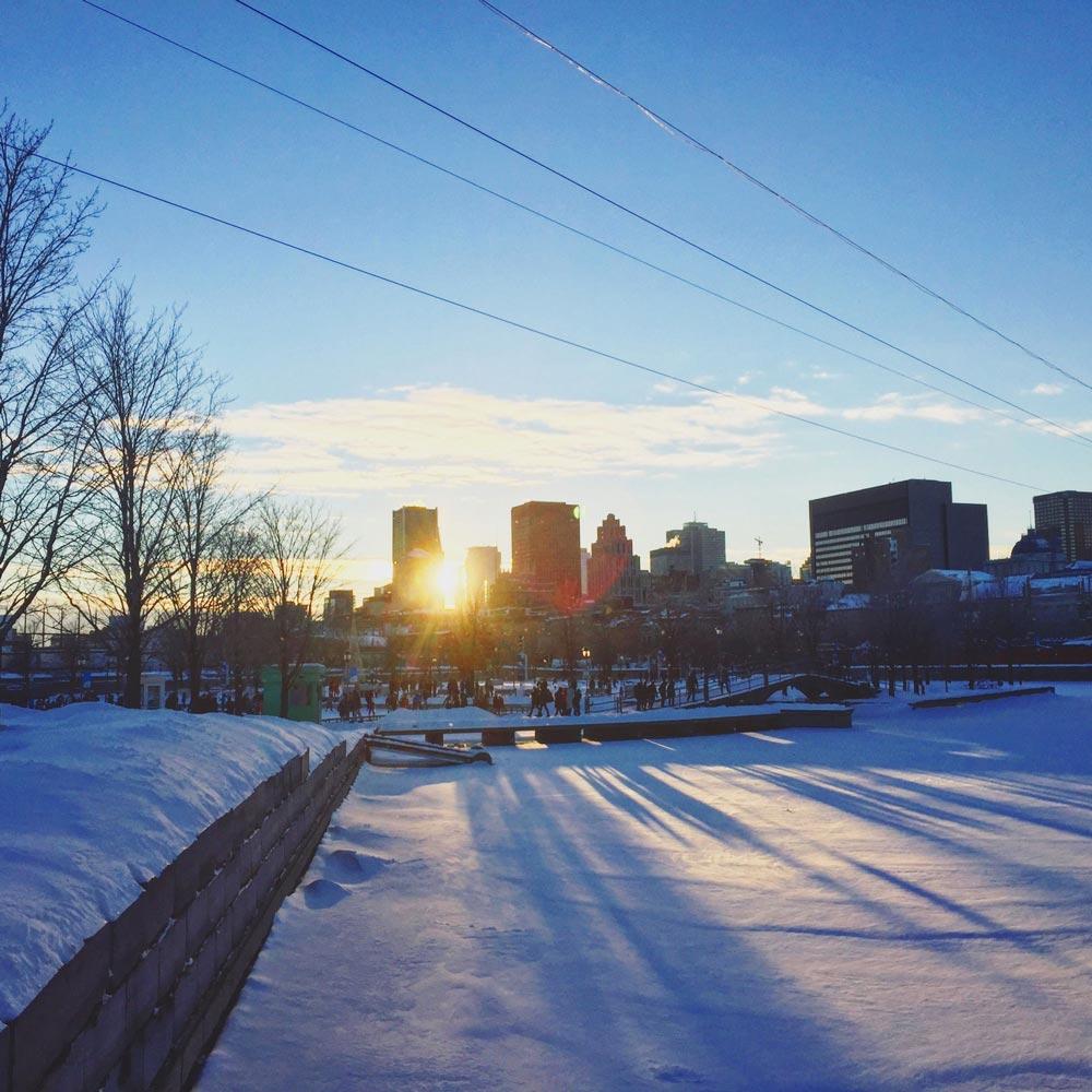 Vieux-Montréal au coucher de soleil, l'hiver