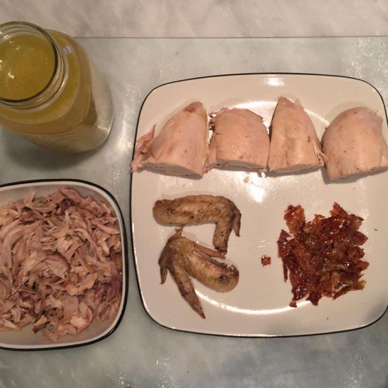 poulet séparé en plusieurs recettes
