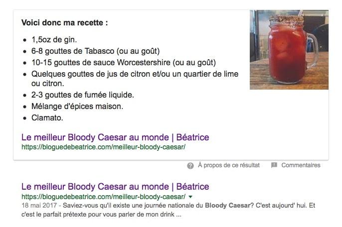 "Résultat de recherche ""Meilleur Bloody Caesar"" sur Google"