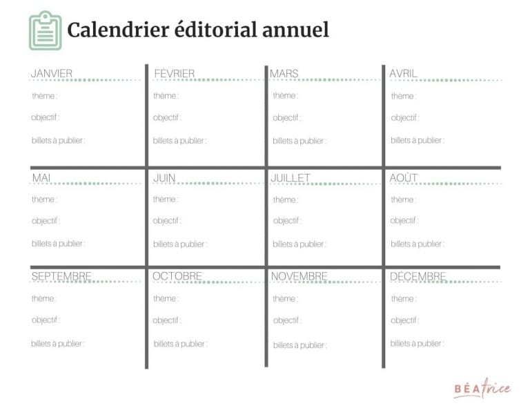 calendrier éditorial annuel