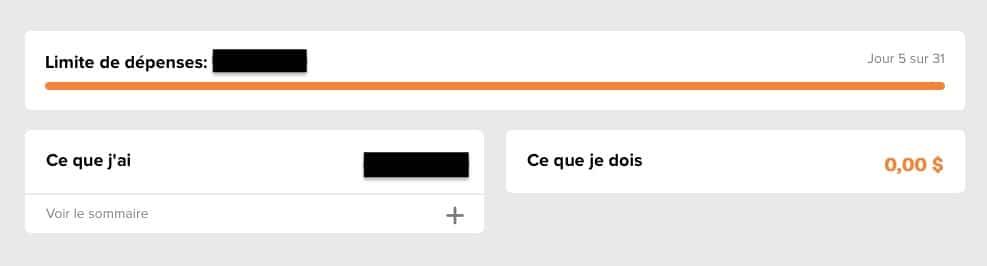 Capture d'écran de l'outil Limite de Dépenses de Tangerine