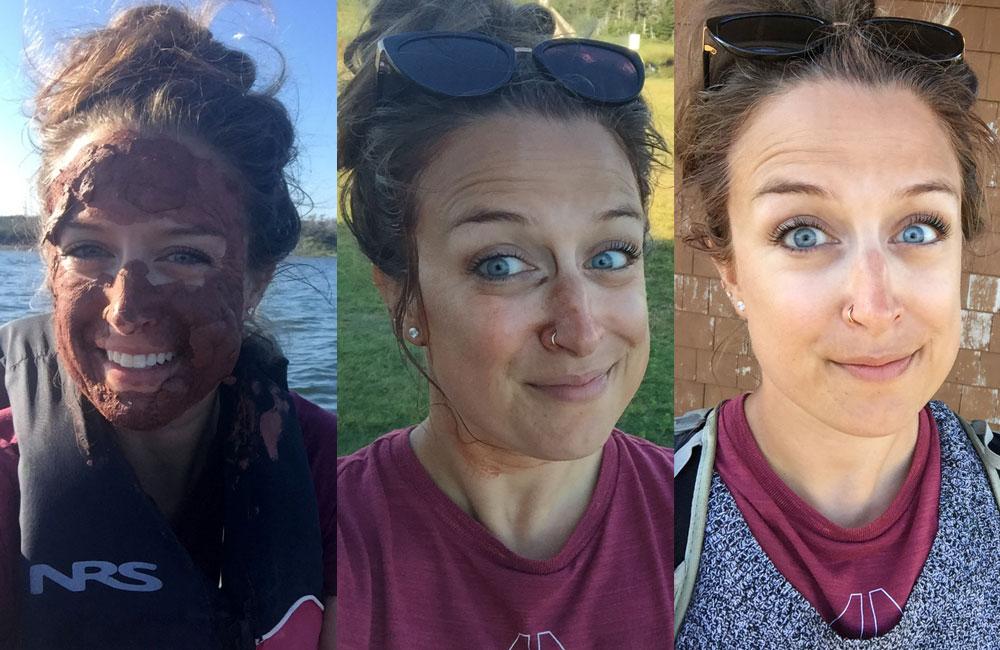 Pendant et après mon masque d'argile